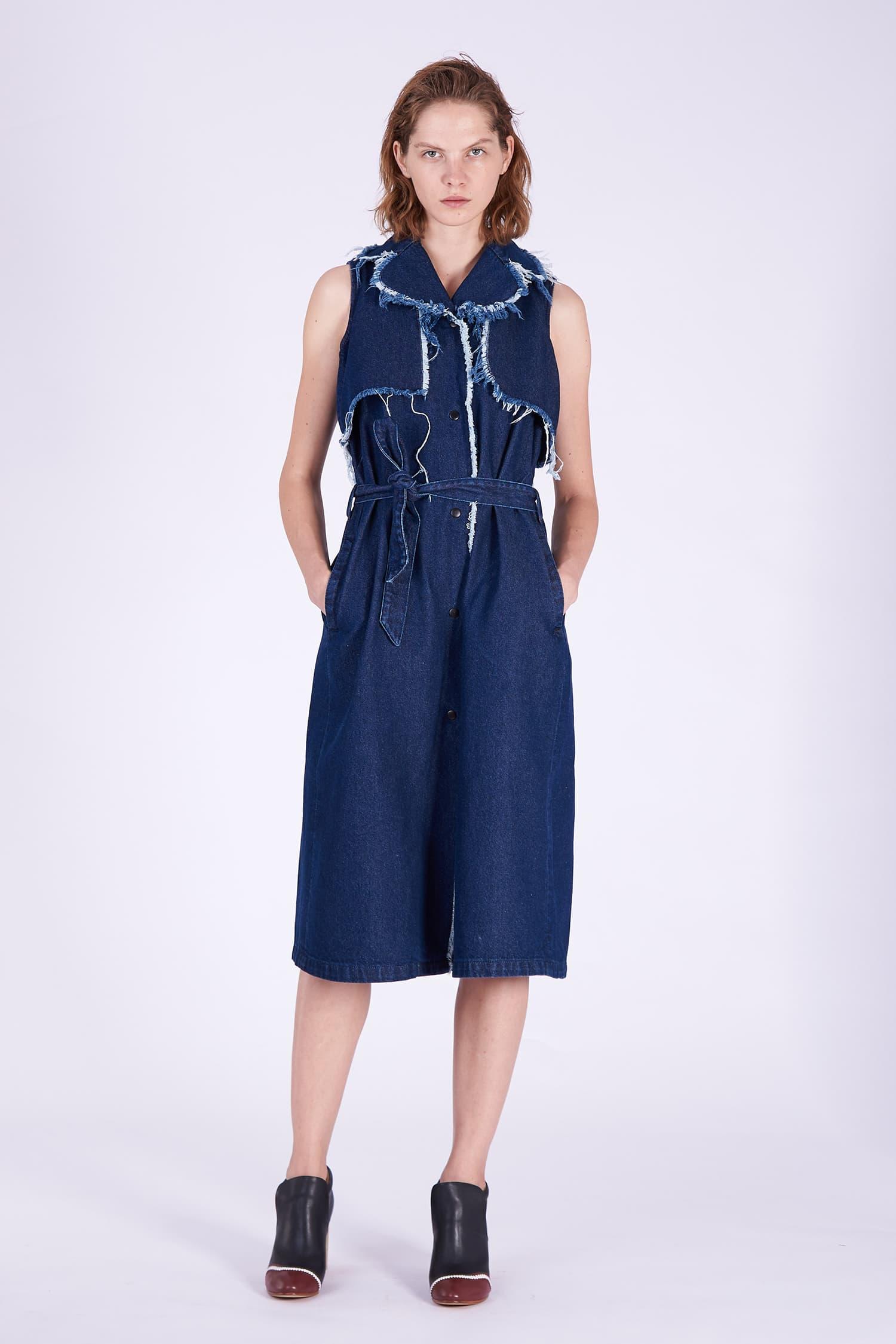 Acephala AW2018-19 Denim Dress Midi Blue // Sukienka Midi z Ciemnego Denimu
