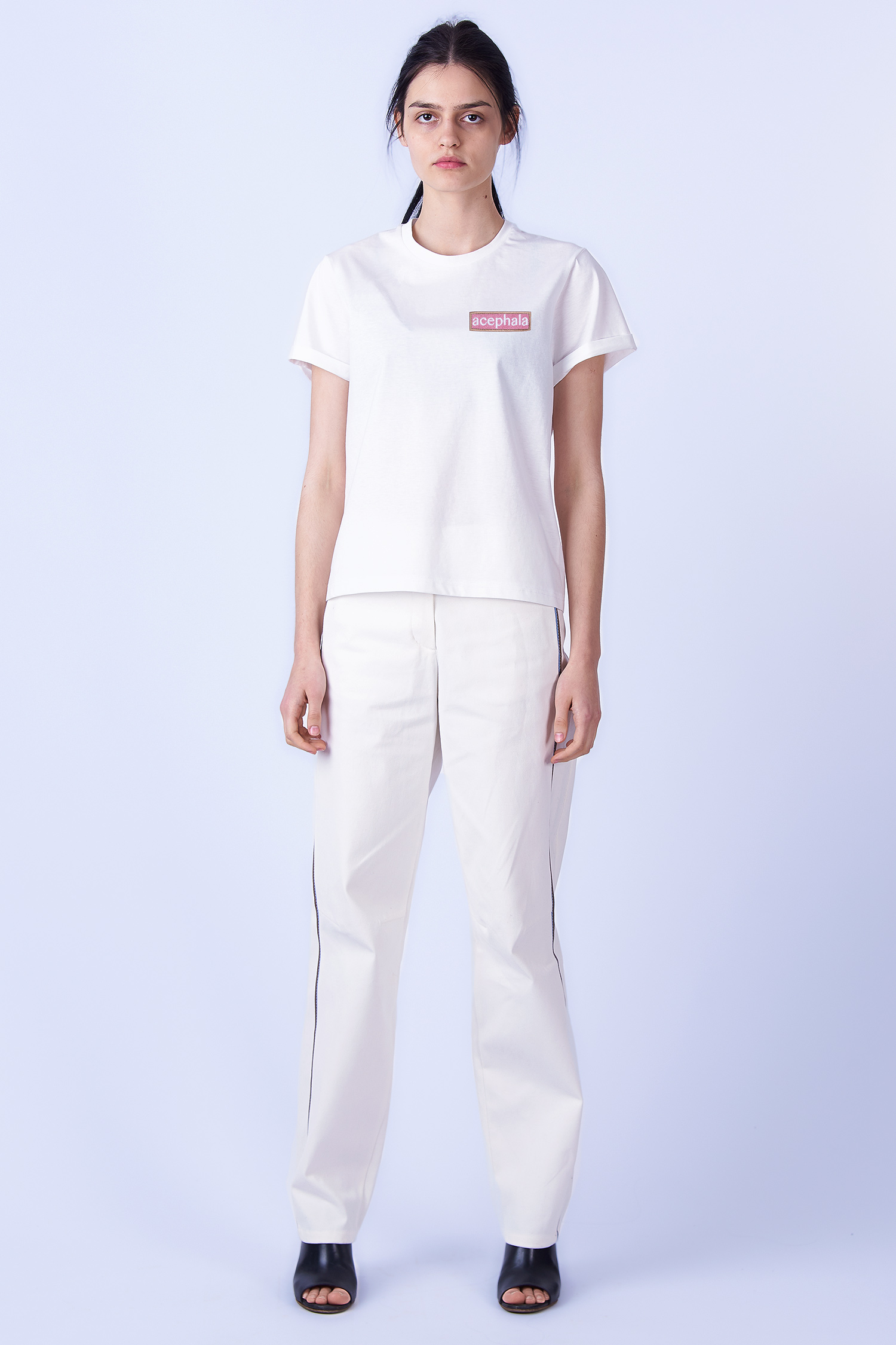 Acephala SS2019 Slavic Goddesses White Patch T Shirt Biała Koszulka z Naszywką Front