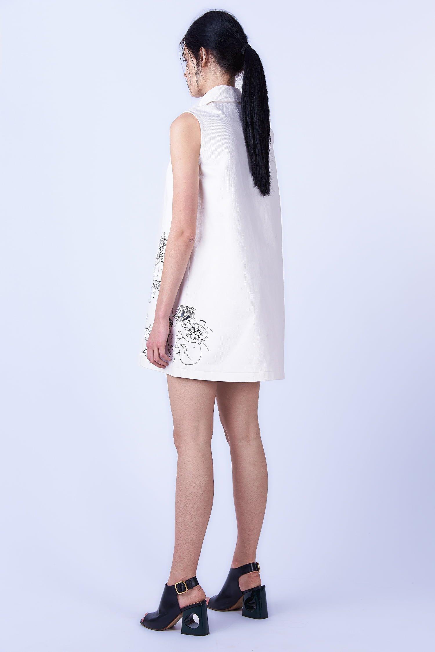 Acephala SS2019 Slavic Goddesses - White Print Mini Dress Sukienka Biała Print side back