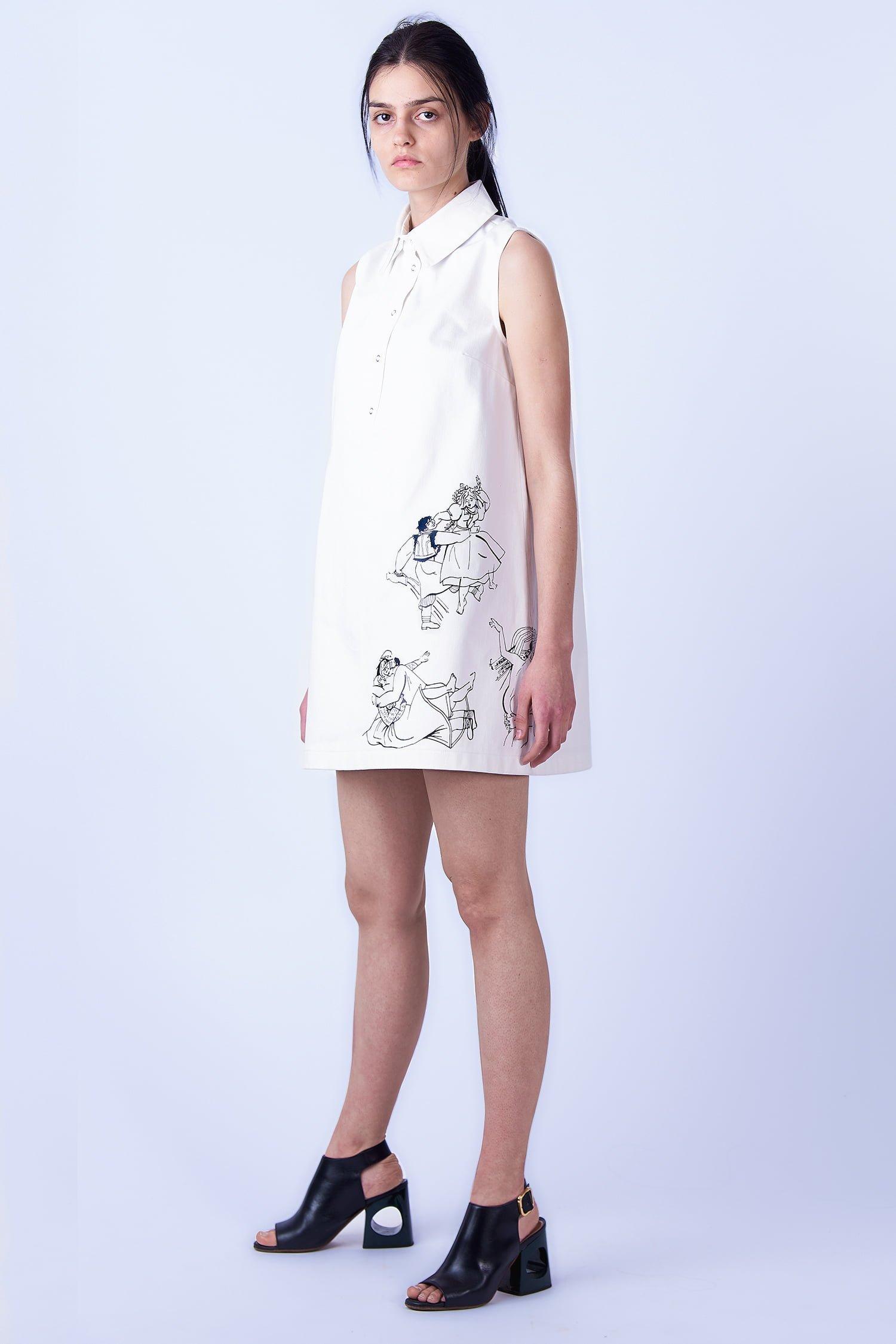 Acephala SS2019 Slavic Goddesses - White Print Mini Dress Sukienka Biała Print side